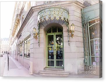 Paris Laduree Patisserie Bakery Tea Shop - Paris Pink Pastel Laduree Architecture  Canvas Print by Kathy Fornal