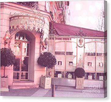 Paris Laduree Patisserie Pink Art Deco - Paris Laduree Patisserie Macaron Tea Shop Champs Elysees  Canvas Print by Kathy Fornal