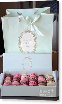 Patisserie Canvas Print - Paris Laduree Macarons - Dreamy Laduree Box Of French Macarons With Laduree Bag  by Kathy Fornal