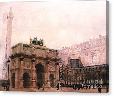 Paris Louvre Museum Arc De Triomphe Architecture Buildings - Watercolor Paris Landmarks Canvas Print by Kathy Fornal