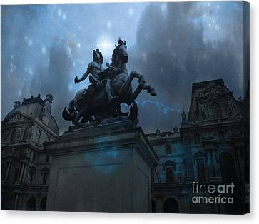 Paris Louvre Museum Blue Starry Night - King Louis Xiv Monument At Louvre Museum Canvas Print by Kathy Fornal