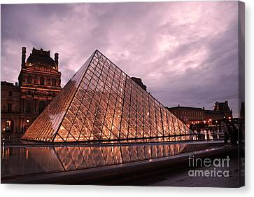 Paris Louvre Museum Dusk Twilight Night Lights - Louvre Pyramid Triangle Night Lights Architecture  Canvas Print by Kathy Fornal