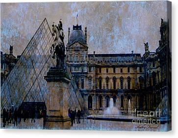 Paris Louvre Museum Impressionistic - Surreal Blue Brown Louvre Pyramid Architecture Sculptures Canvas Print by Kathy Fornal