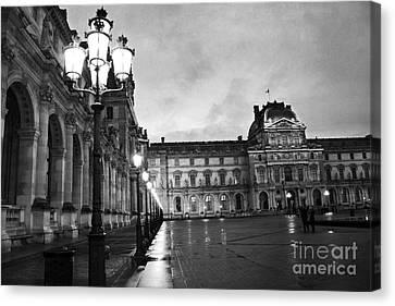 Paris Louvre Museum Lanterns Lamps - Paris Black And White Louvre Museum Architecture Canvas Print by Kathy Fornal