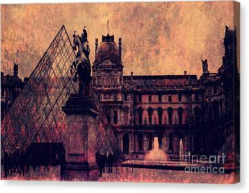 Paris Louvre Museum - Musee Du Louvre - Louvre Pyramid  Canvas Print by Kathy Fornal