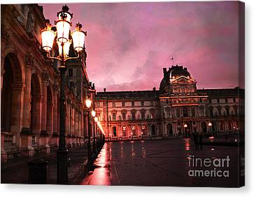 Paris Louvre Museum Night Architecture Street Lamps - Paris Louvre Museum Lanterns Night Lights Canvas Print by Kathy Fornal