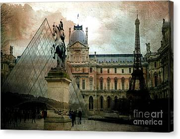 Paris Louvre Museum Pyramid Architecture - Eiffel Tower Photo Montage Of Paris Landmarks Canvas Print by Kathy Fornal