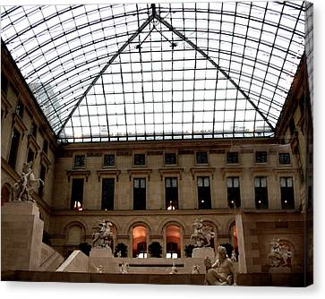Paris - Louvre Museum Pyramid - Louvre Sky Pyramid Sculpture Statues Canvas Print by Kathy Fornal