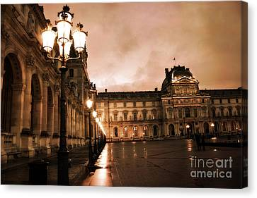 Paris Louvre Museum Sepia Night Lights Street Lamps - Paris Sepia Louvre Museum Night Photography Canvas Print by Kathy Fornal