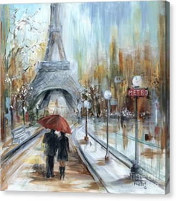 Benches Canvas Print - Paris Lovers I by Marilyn Dunlap