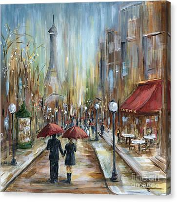 Building Canvas Print - Paris Lovers Ill by Marilyn Dunlap