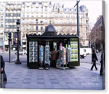Paris Magazine Kiosk Canvas Print by Thomas Marchessault
