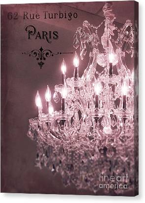 Chandelier Canvas Print - Paris Sparkling Crystal Chandelier - Paris Pink Mauve Crystal Chandelier Decor by Kathy Fornal
