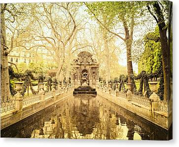 Paris - Medici Fountain - Garden Of Luxembourg Canvas Print