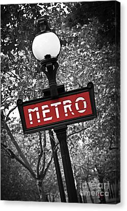 Street Canvas Print - Paris Metro by Elena Elisseeva