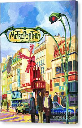 Paris Metropolitain Blanche Moulin Rouge  Canvas Print by Yuriy  Shevchuk