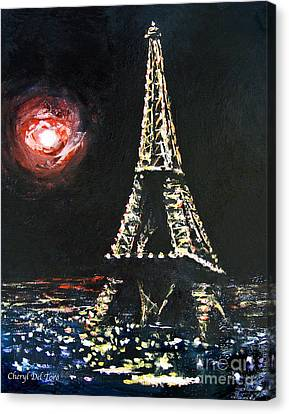 Paris Night Canvas Print by Cheryl Del Toro