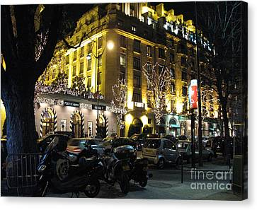 Paris Night Lights Street Scene Architecture And Vespas Canvas Print by Kathy Fornal
