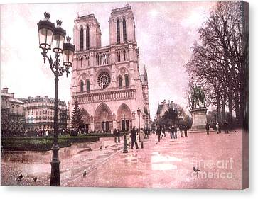 Paris Notre Dame Cathedral Courtyard - Notre Dame Courtyard Dreamy Pink  Canvas Print by Kathy Fornal