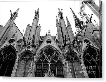 Paris Notre Dame Cathedral Gothic Black And White Gargoyles And Architecture Canvas Print