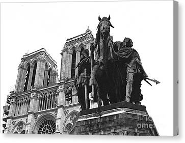 Paris Notre Dame Cathedral Monument - Charlemagne Horses Statue At Notre Dame Cathedral  Canvas Print by Kathy Fornal