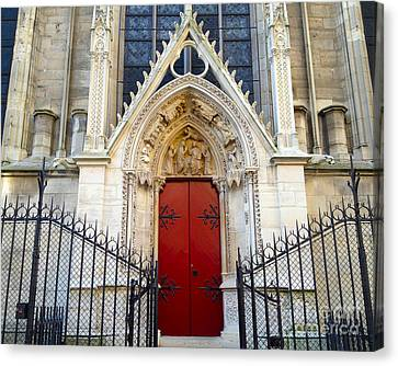 Paris Notre Dame Cathedral Red Ornate Door - Notre Dame Cathedral Door Window Gate Architecture Canvas Print by Kathy Fornal