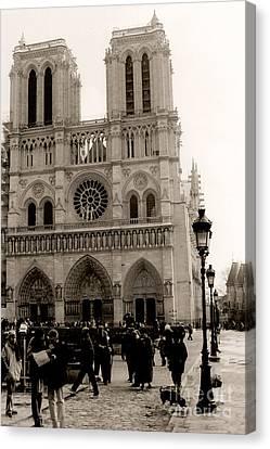 Paris Notre Dame Cathedral Sepia - Paris Vintage Sepia Notre Dame Cathedral Street Photography Canvas Print by Kathy Fornal