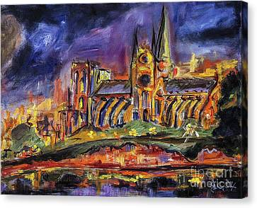 Oil Sketch Canvas Print - Paris Notre Dame Oil Sketch by Ginette Callaway