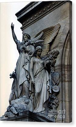 Paris Opera Angels - Opera De Garnier - Opera Statues And Angels - Paris Angels Of The Opera House  Canvas Print by Kathy Fornal