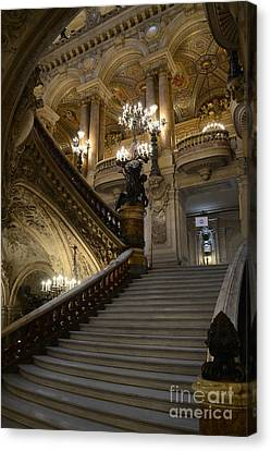 Chandelier Canvas Print - Paris Opera Garnier Grand Staircase - Paris Opera House Architecture Grand Staircase Fine Art by Kathy Fornal