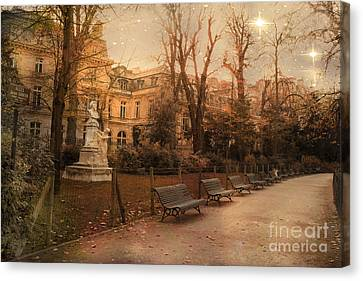Starry Canvas Print - Paris Parc Monceau Gardens - Jocques Garnerin Parc Monceau Sunset Starlit Park And Garden Sculpture  by Kathy Fornal