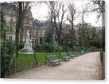 Paris Parc Monceau Gardens - Romantic Paris Park And Garden Sculpture Art  Canvas Print by Kathy Fornal