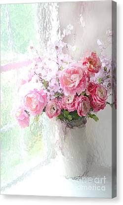 Paris Peonies Roses Shabby Chic Art - Romantic Paris Peonies And Roses Impressionistic Floral Art Canvas Print by Kathy Fornal
