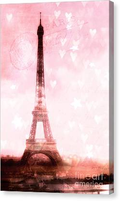 Paris Pink Eiffel Tower - Shabby Chic Paris Dreamy Pink Eiffel Tower With Hearts And Stars Canvas Print by Kathy Fornal