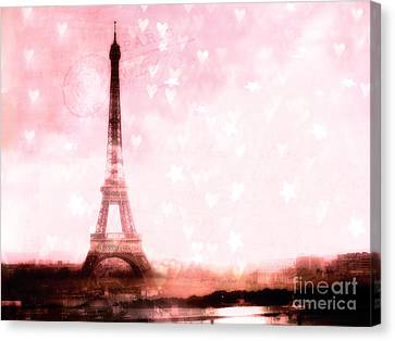 Paris Pink Eiffel Tower With Hearts And Stars - Paris Romantic Dreamy Pink Photographs Canvas Print by Kathy Fornal