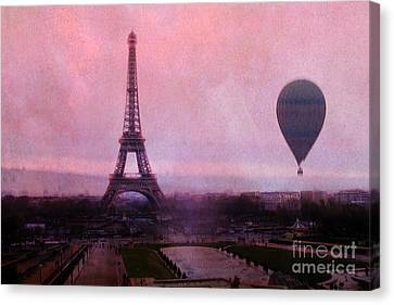Paris Pink Eiffel Tower With Hot Air Balloon - Paris Eiffel Tower Pink Sky And Balloon Fine Art Canvas Print by Kathy Fornal