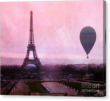 Paris Pink Eiffel Tower With Hot Air Balloon - Paris Eiffel Tower Romantic Pink Art Deco Canvas Print by Kathy Fornal