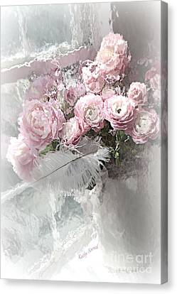 Paris Pink Impressionistic French Roses And Ranunculus - Shabby Chic Romantic Pink Flowers Canvas Print by Kathy Fornal