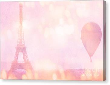 Paris Dreamy Pink Eiffel Tower With Pink Hot Air Balloon - Paris And Balloons Canvas Print