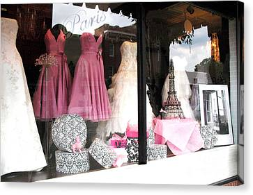 Paris Pink White Bridal Dress Shop Window Paris Decor Canvas Print by Kathy Fornal