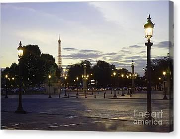 Paris Place De La Concorde Evening Sunset Lights With Eiffel Tower - Paris Night Lights Eiffel Tower Canvas Print by Kathy Fornal
