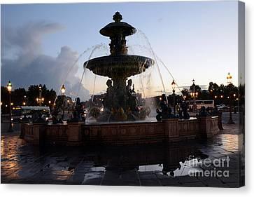 Paris Place De La Concorde Fountain - Paris Dreamy Night Fountain - Place De La Concorde Night Photo Canvas Print by Kathy Fornal