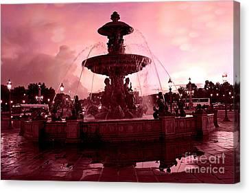 Paris Place De La Concorde Fountain - Paris Dreamy Surreal Pink Night Place De La Concorde  Canvas Print by Kathy Fornal