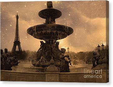 Paris Place De La Concorde Fountain Square - Paris Fountain And Eiffel Tower Sepia Starry Night  Canvas Print by Kathy Fornal