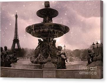 Paris Place De La Concorde Fountain Square - Paris Pink Place De La Concorde Fountain Starry Night Canvas Print by Kathy Fornal