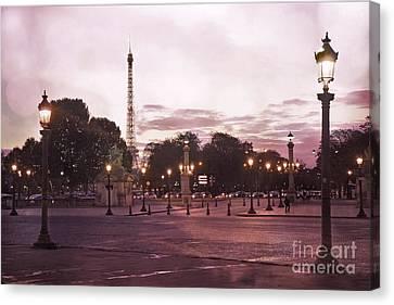 Paris Place De La Concorde Plaza Street Lamps - Romantic Paris Lanterns Eiffel Tower Pink Sunset Canvas Print by Kathy Fornal