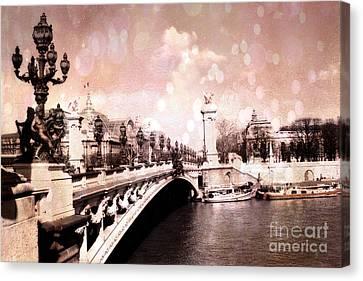 Paris Pont Alexandre IIi Bridge Over The Seine - Paris Romantic Bridge Sculptures And Ornate Lamps  Canvas Print