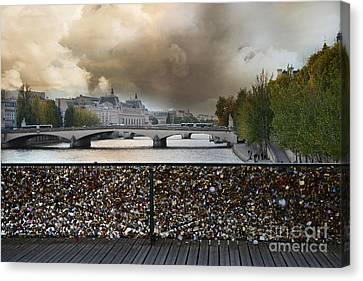 Paris Pont Des Art Bridge Locks Of Love Bridge - Romantic Locks Of Love Bridge View  Canvas Print by Kathy Fornal