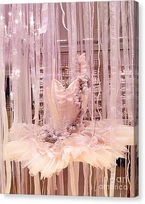 Paris Repetto Pink Ballerina Tutu Window Display - Parisian Fashion Ballerina Dress Canvas Print by Kathy Fornal