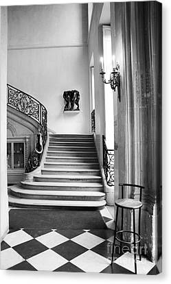 Paris Rodin Museum Black And White Fine Art Architecture - Rodin Museum Entry Staircase Canvas Print by Kathy Fornal